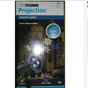 New Gemmy LED Lightshow Projection Snowflurry Blue